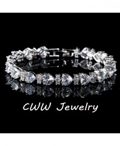 Silver Heart Shaped Charm Swiss Cubic Zirconia Bracelets