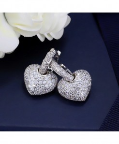 Silver Micro Pave Cubic Zirconia Hoop Earrings