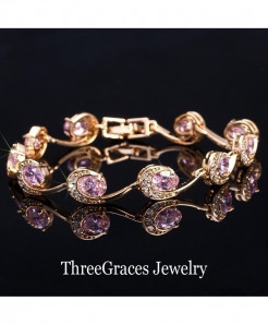 ThreeGraces Pink Crystal Chain Bracelet