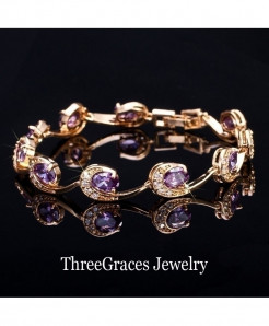 ThreeGraces Purple Crystal Chain Bracelet