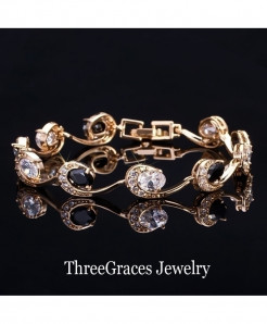 ThreeGraces Black White Crystal Chain Bracelet