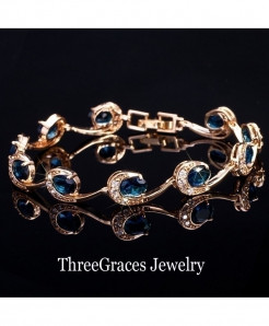 ThreeGraces Navy Blue Crystal Chain Bracelet