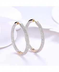 Silver Paved Cubic Zirconia Creole Hoop Earrings