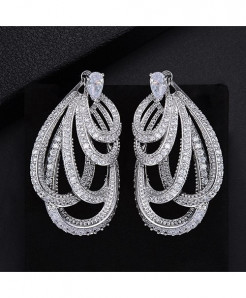 GODKI Silver Braided Twist Lines Paved Earrings