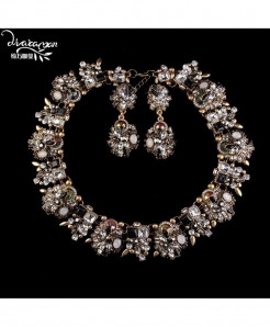 Golden Crystal Flower Statement Jewelry Set