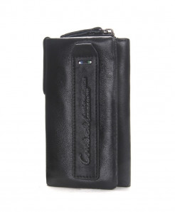 CONTACT Black Genuine Leather Case Key Holder Wallet