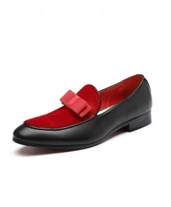 Red Metal Pendant Decorated Slip On Loafers
