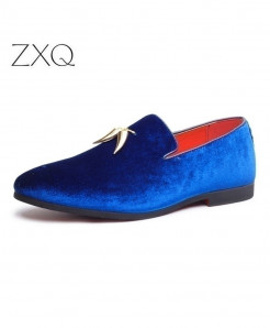 Blue Metal Pendant Decorated Slip On Loafers