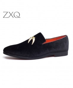 Black Metal Pendant Decorated Slip On Loafers