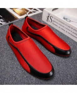YanCloud Red White Breathable Loafers