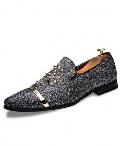 Silver Diamond Rhinestones Spiked Loafers