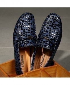 ECTIC Blue Printed Shiny Soft Comfy Loafers