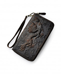 Dark Brown Dragon Leather Card Holder Zipper Wallet