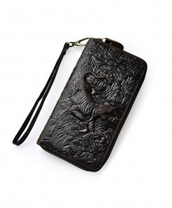 Dark Brown Tiger Leather Card Holder Zipper Wallet