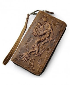 Brown Dragon Leather Card Holder Zipper Wallet
