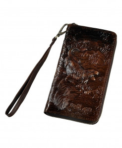 Coffee Tiger Leather Card Holder Zipper Wallet