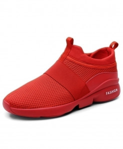 AILONGKA Red Lightweight Breathable Mesh Casual Shoes