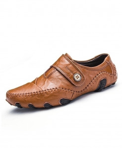 ENLEN Brown Textured Button Stylish Casual Shoes