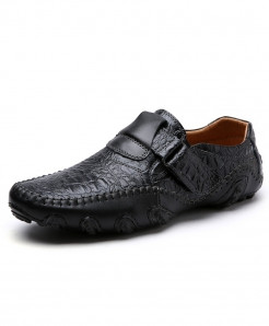ENLEN Black Textured Stylish Casual Shoes