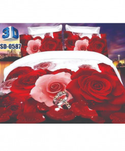 3D Red White Floral Stylish Design Bedsheet RB-0587