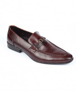 Choco Brown Leather Loafer Shoes LC-353