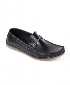 Black Leather Buckle Up Slip On Shoes LC-355