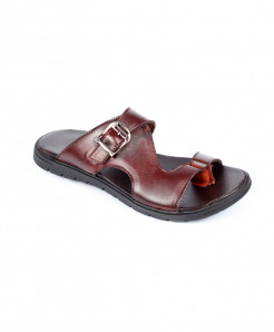 Brown Leather Thumb Style Slipper LC-357