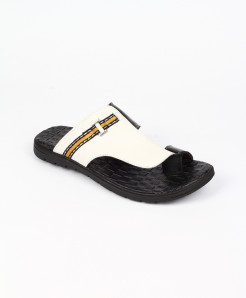 White Leather Thumb Style Slippers LC-359