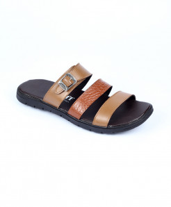 Mustard Brown Leather Casual Slippers LC-361