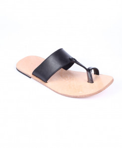 Black Leather Handmade Kolhapuri Slipper LC-362
