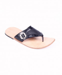 Black Leather Handmade Kolhapuri Slipper LC-367
