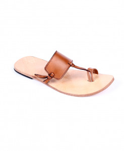 Mustard Brown Leather Handmade Kolhapuri Slipper LC-364