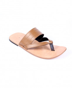 Mustard Brown Leather Handmade Kolhapuri Slipper LC-365