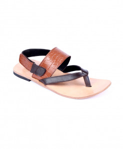 Mustard Black Leather Handmade Kolhapuri Sandal LC-363