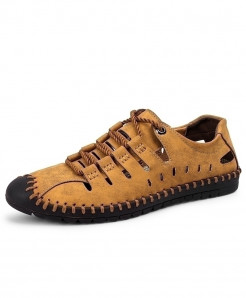 Brown Roman Stylish Leather Casual Shoes