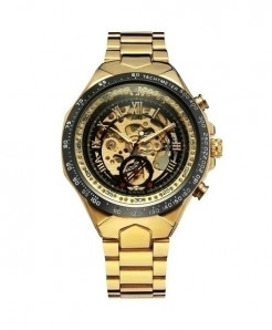 WINNER Golden Black Skeleton Mechanical Watch
