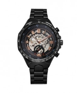 WINNER Black Rose Skeleton Mechanical Watch