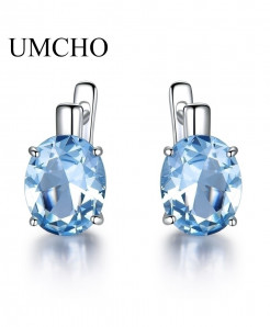 UMCHO Oval Sky Blue Topaz Gemstone Clip Earrings