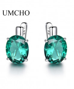 UMCHO Oval Emerald Gemstone Clip Earrings