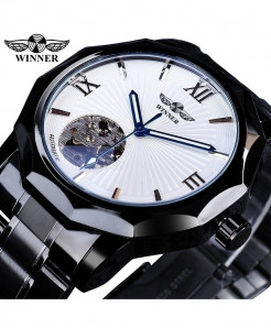 Winner Black Transparent Skeleton Dial Watch