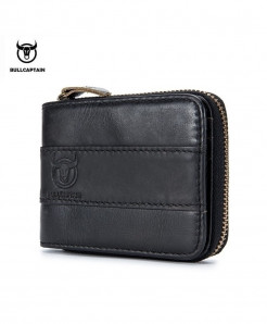 BULLCAPTAIN Black Cowhide Coin Purse Slim Wallet