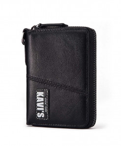 KAVIS Black Leather Coin Purse Wallet