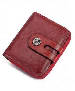 KAVIS  Red Leather Small Card Holder Wallet
