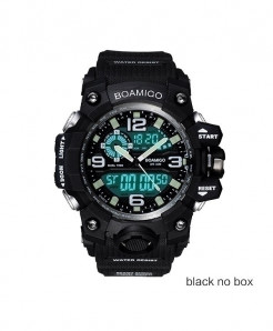 BOAMIGO Black Digital LED Swim Quartz Rubber Wristwatches