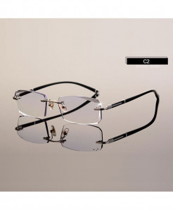 HOTOCHKI Black Eyeglasses Cutting Rimless Optical Frame