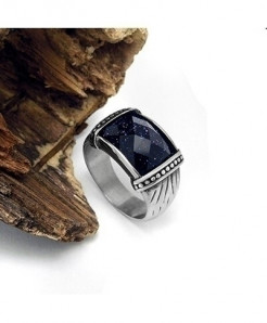 Claire Jin Blue Simulated Titanium Stainless Steel Ethnic Ring