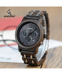 BOBO BIRD Wood Stainless Steel Band Watch