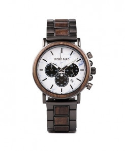 BOBO BIRD Black Wood Timepieces Chronograph Military Quartz