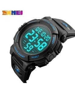 SKMEI Black Blue Digital LED Electronic Waterproof Watch