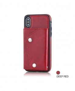 FTAIDKJ Deep Red Flip Case Phone Wallet